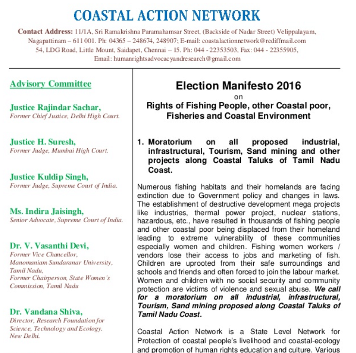 Election Manifesto 2016 on Coast