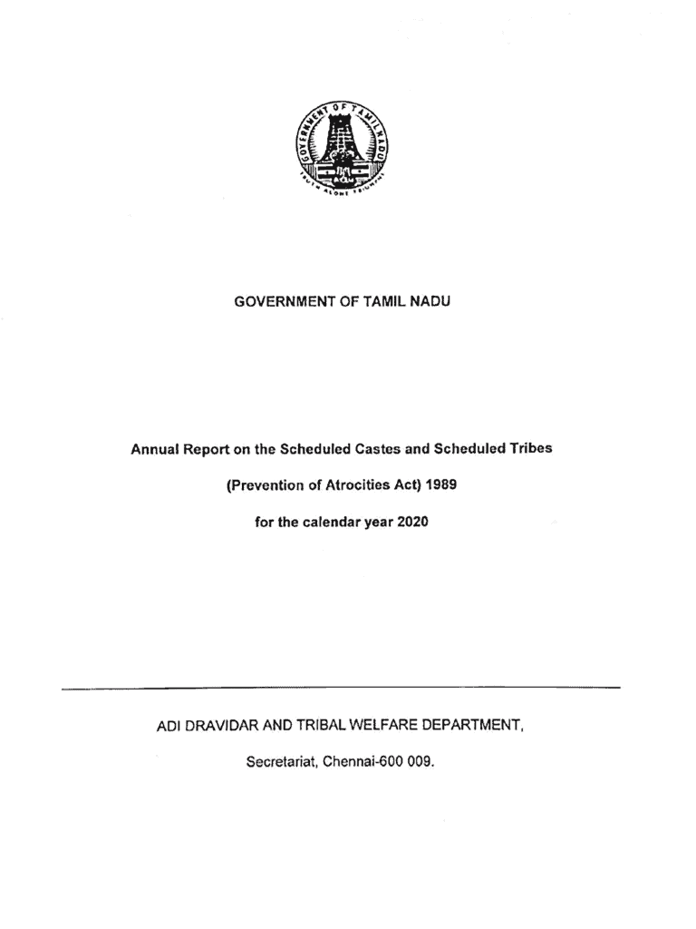 SC & ST (Prevention of Atrocities) Act - Tamil Nadu 2020 State Annual Report