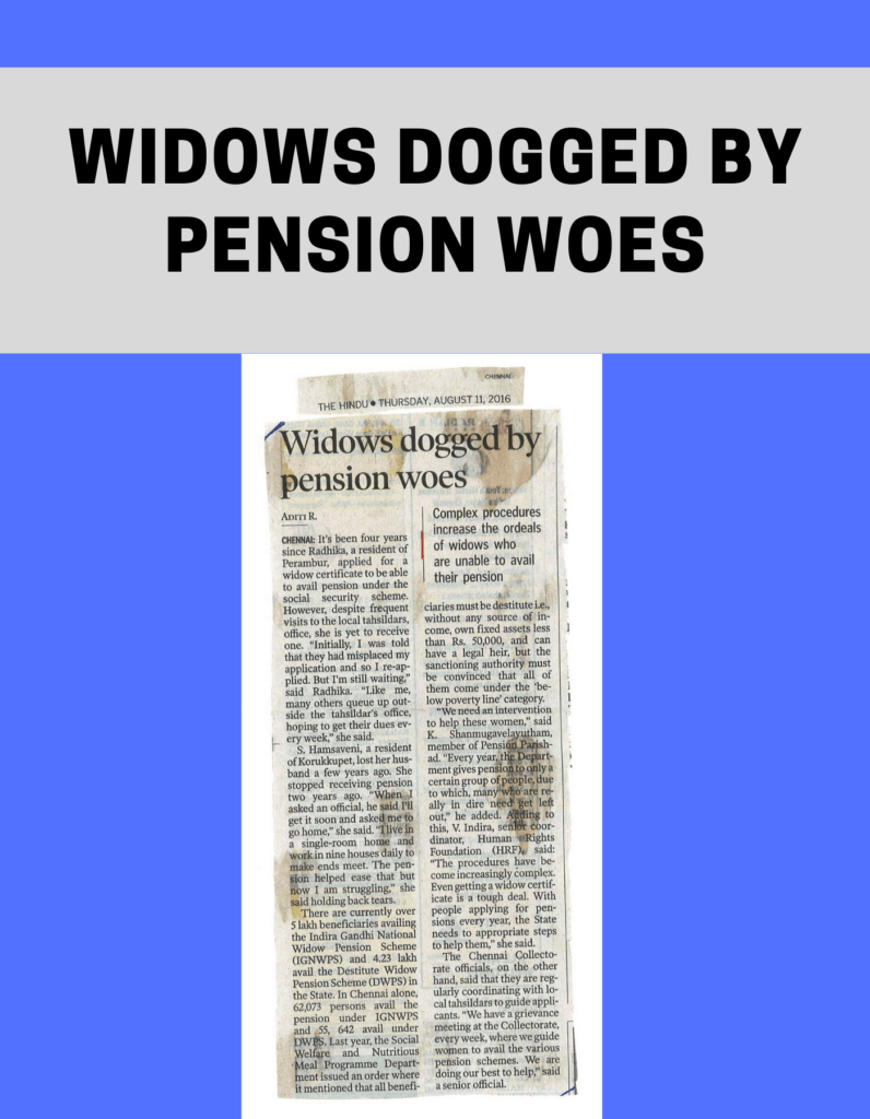Widows dogged by pension woes