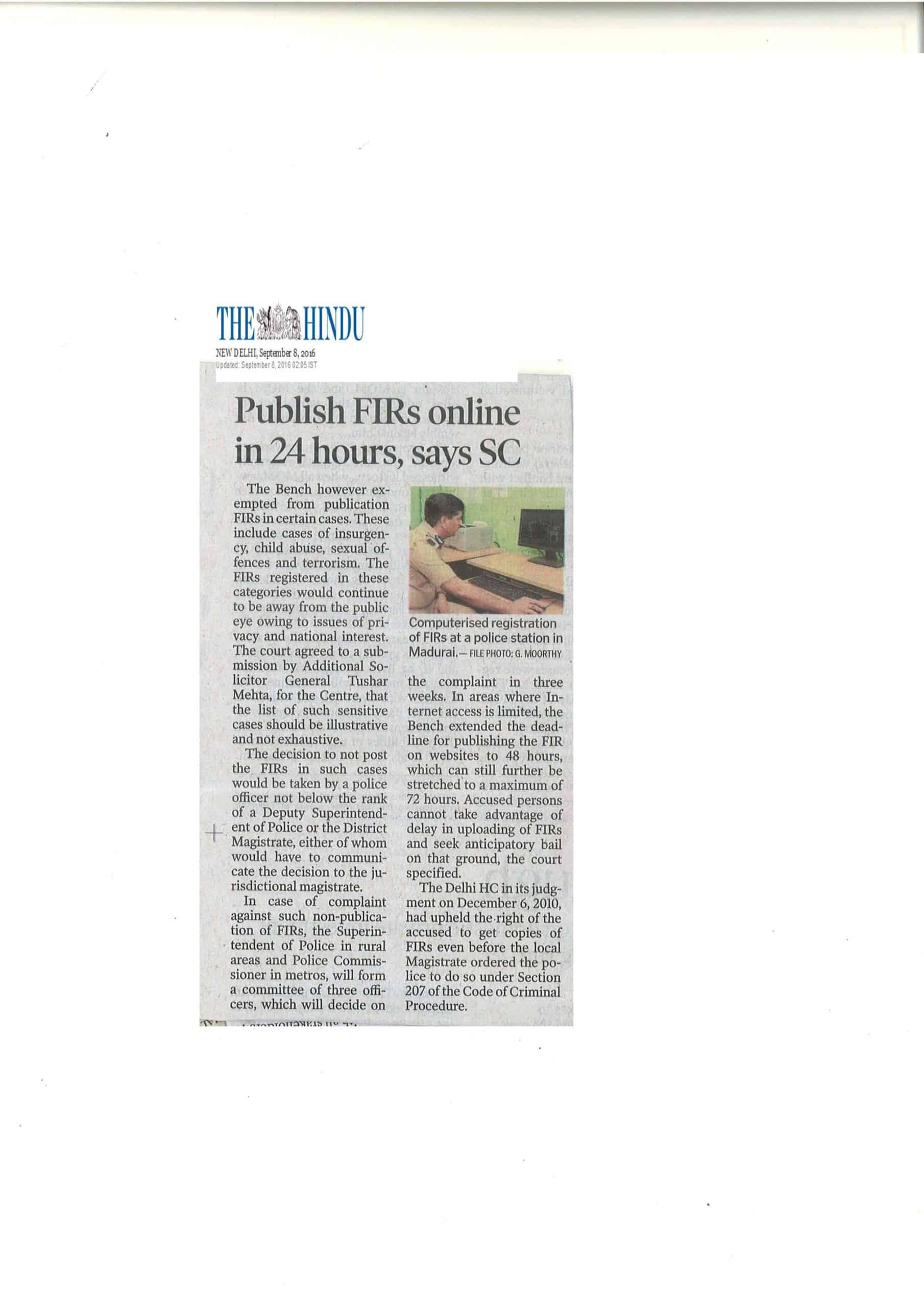 Publish FIRs online in 24 hours says SC